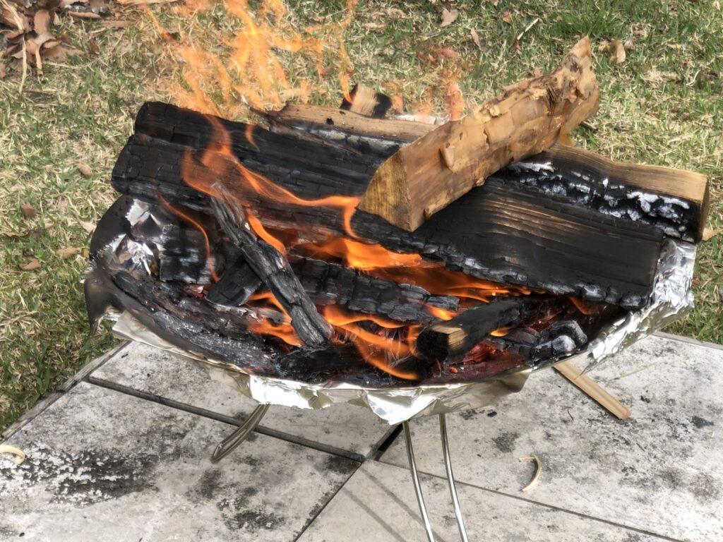 ファイアーディスクでの焚き火の様子